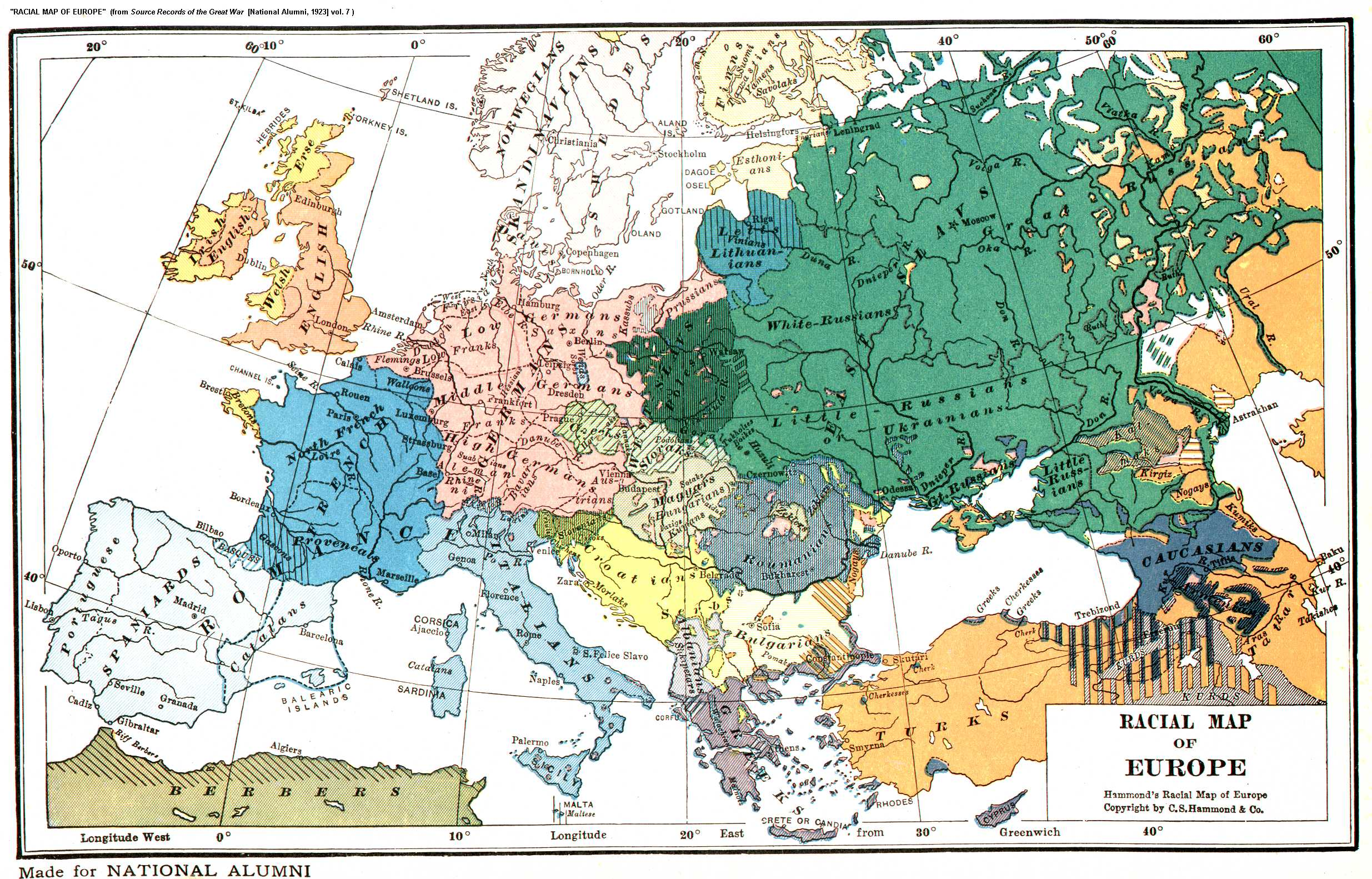 Racial Ethnic Map of Europe 1919